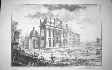 Piranesi, Giovanni: S. GIOVANNI IN LATERANO, MAIN FACADE, WITH PALACE AND SCALA SANTA ON THE RIGHT, Year 1749.