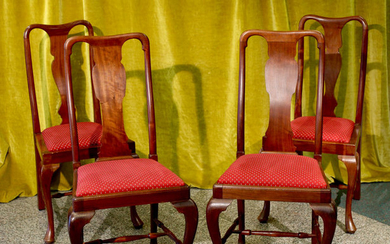 A set of four dining room chairs - Queen Anne Style - Mahogany - circa 1900
