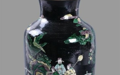 A Chinese 'Famille Noire' vase