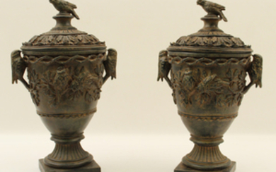PR. OF FAUX BRONZE CAPPED URNS WITH BIRDS
