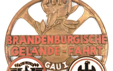 A Third Reich bronze and enamel car badge (?) or plaque for ...