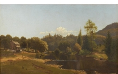 UNKNOWN ARTIST (american, 19th century) UNTITLED (GREEN LANSCAPE) Oil...