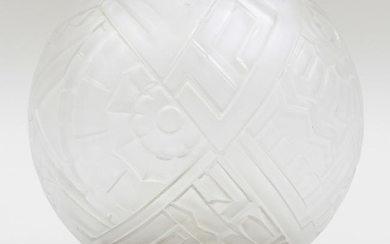 French Art Deco Globular Opalescent Glass Table Lamp