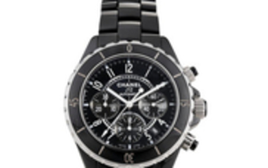 Chanel. A Black Ceramic and Stainless Steel Chronograph Bracelet Watch with Date