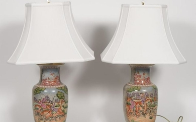 Pair, Chinese Export Style Table Lamps w/ Shades