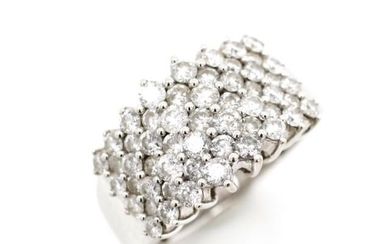 Diamond set 14ct white gold cluster ring marked 14k. Approx ...