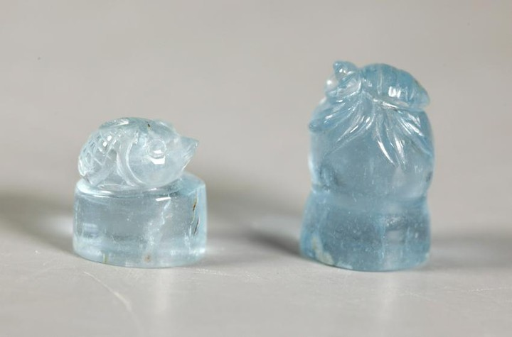Two Chinese Carved Aquamarine Seals, Bug & Fish