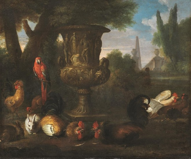 David De Coninck (Attributed to) - Still Life with Animals Surrounding the Medici Vase, 17th Century
